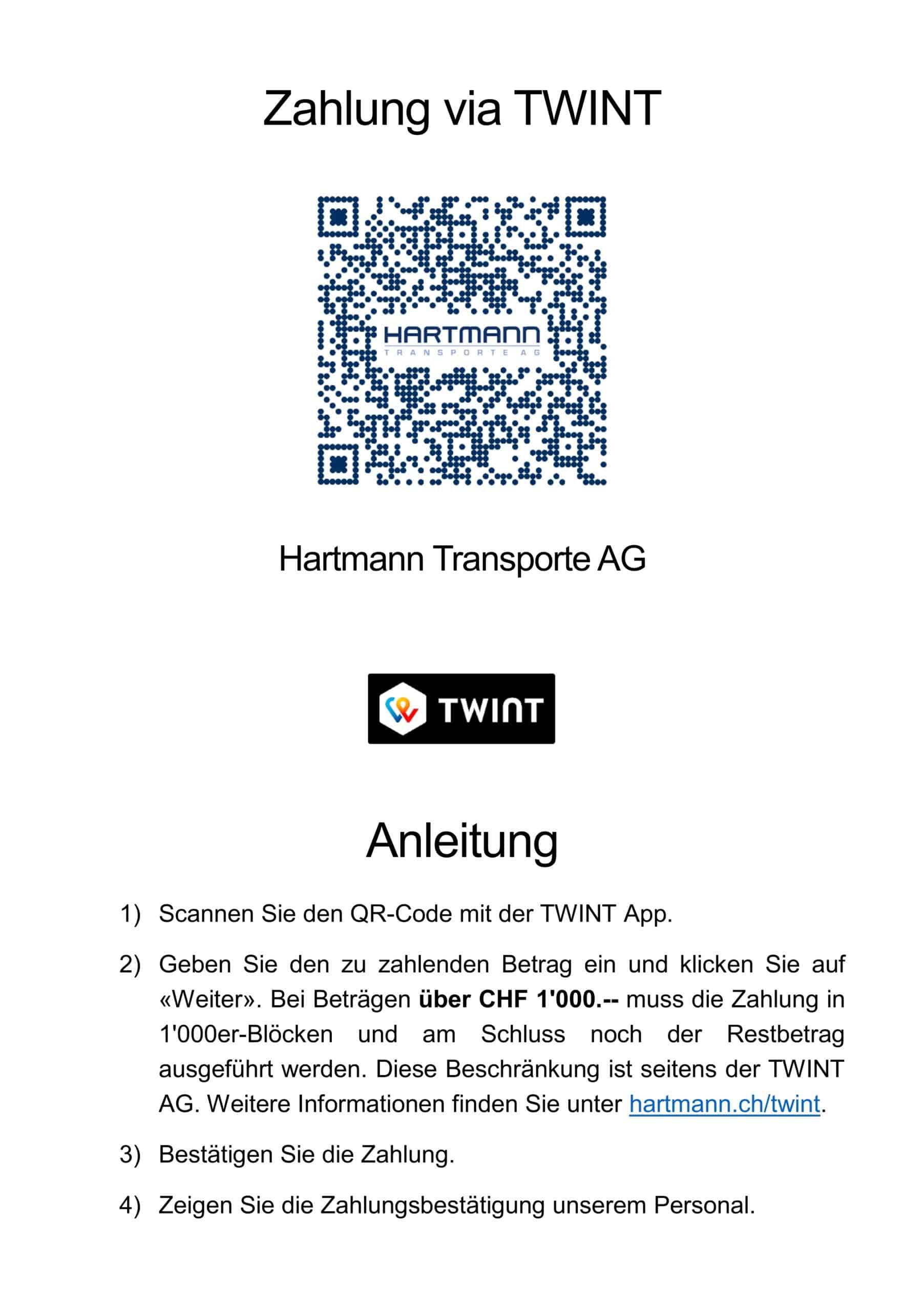 Zahlung via TWINT - Hartmann Transporte AG